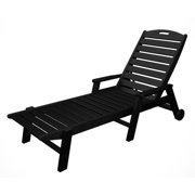 """78.5"""" Recycled Earth-Friendly Outdoor Wheeled Chaise Lounge Arm Chair - Black"""