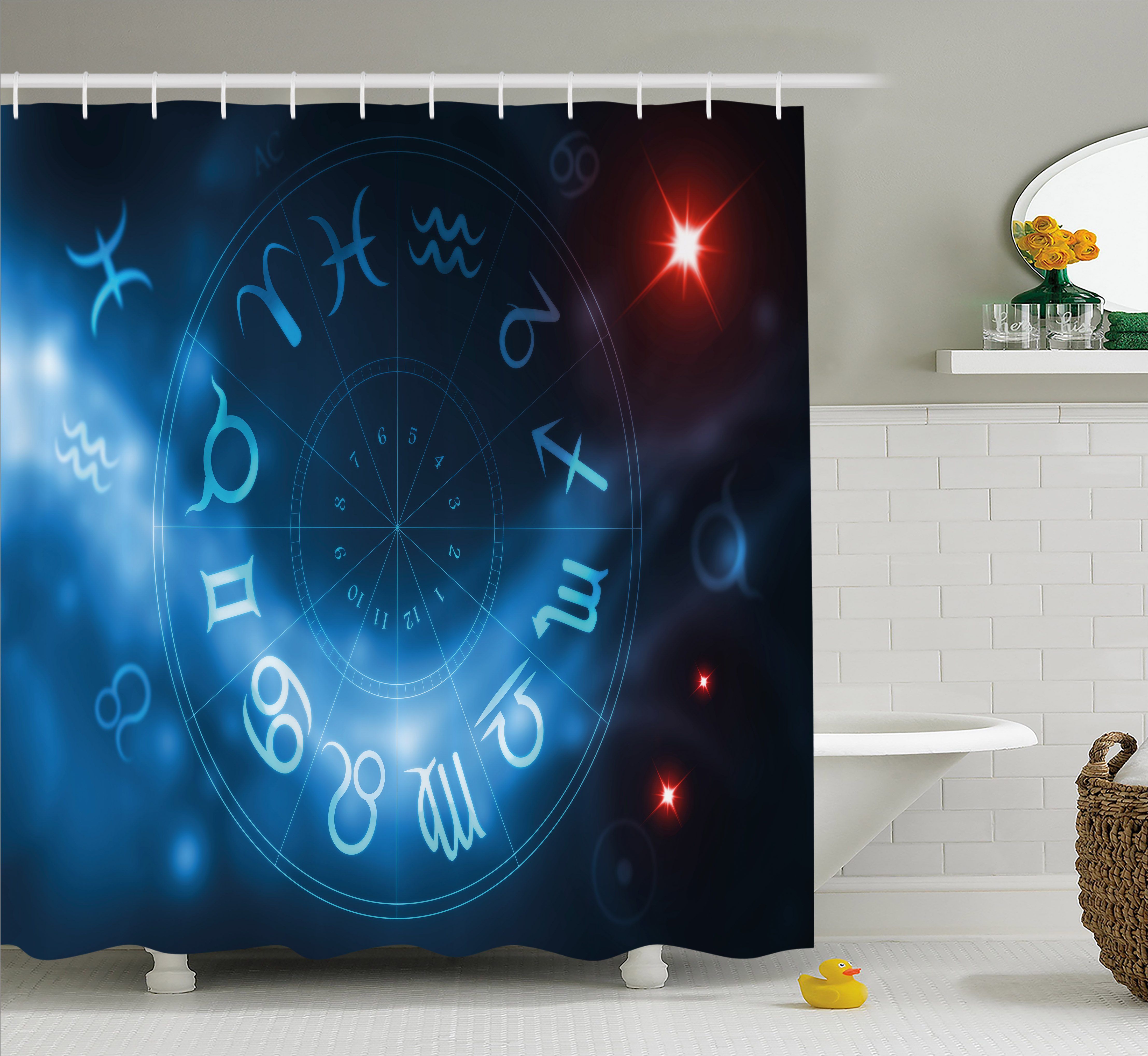 Astrology Shower Curtain, Horoscope Circle Signs Virgo Scorpio Sagittarius with Abstract Backdrop, Fabric Bathroom Set with Hooks, 69W X 84L Inches Extra Long, Blue White and Red, by Ambesonne