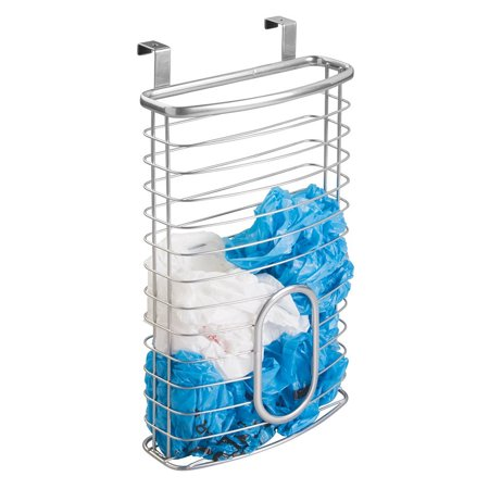 mDesign Over-the-Cabinet Plastic Bag Storage and Grocery Bag Holder, Kitchen Storage – Silver