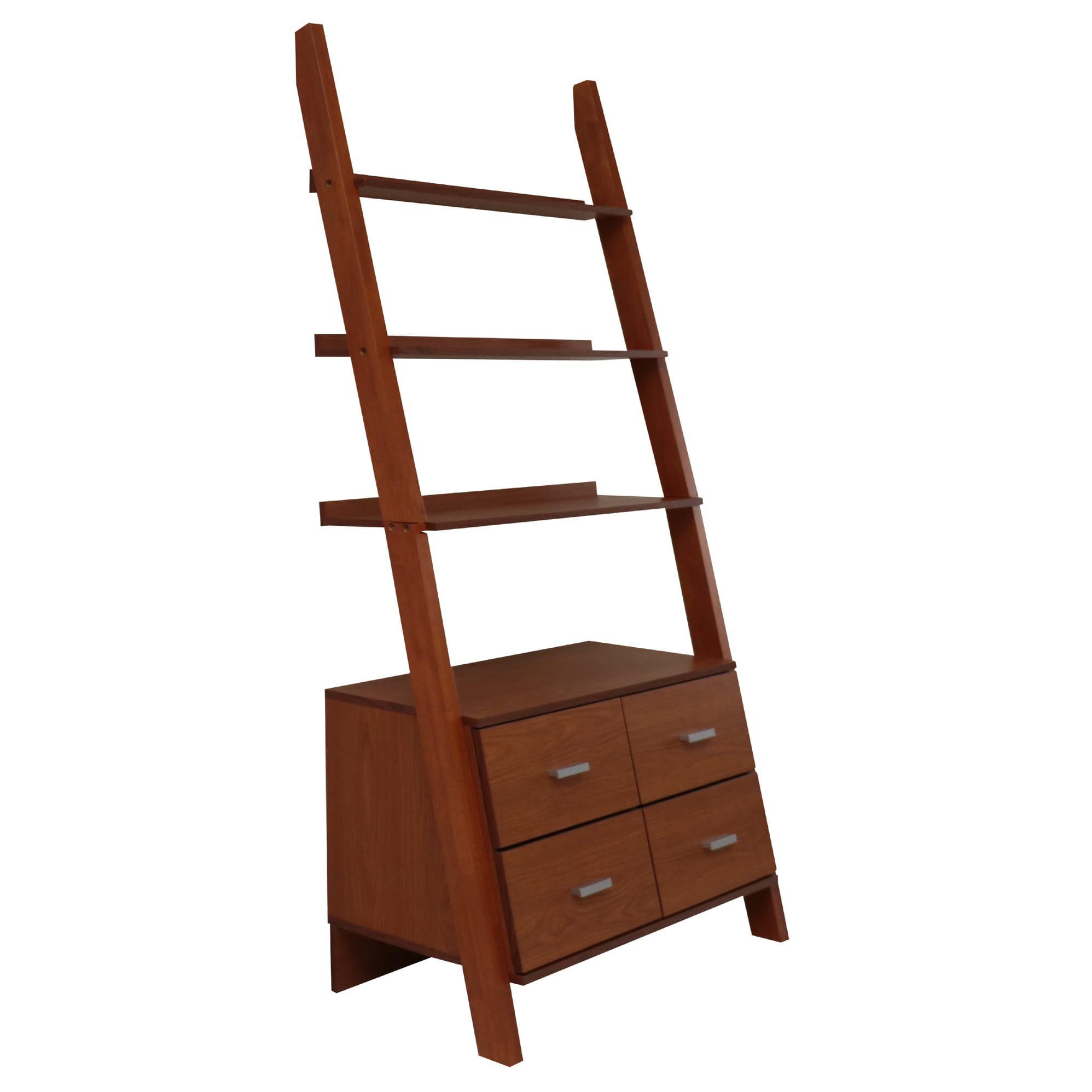 MINTRA CORPORATION Oak Finished Leaning Ladder Bookshelf With Drawers