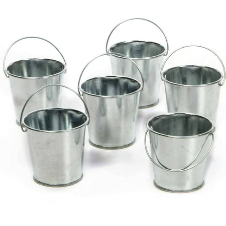Elegant expressions by hosley set of 6 mini galvanized for Galvanized metal buckets small
