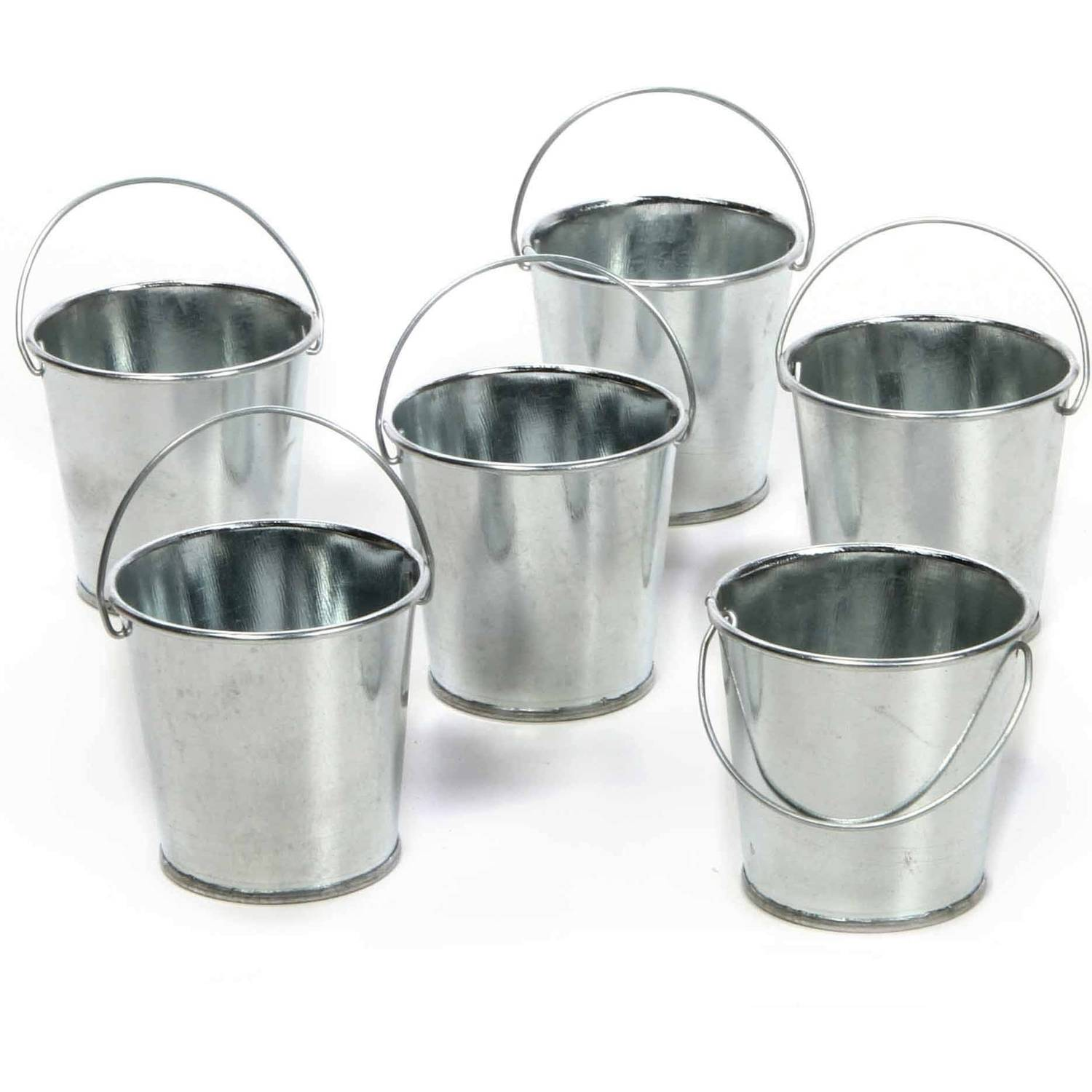 Elegant Expressions by Hosley Set of 6 Mini Galvanized Buckets