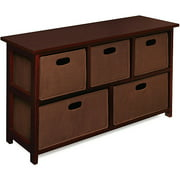 Badger Basket - Wooden Storage Cabinet with Baskets, Cherry