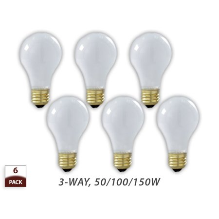 Royal designs 6 pack 3 way incandescent light bulbs soft white 50 100 150 watt 3 way light bulbs