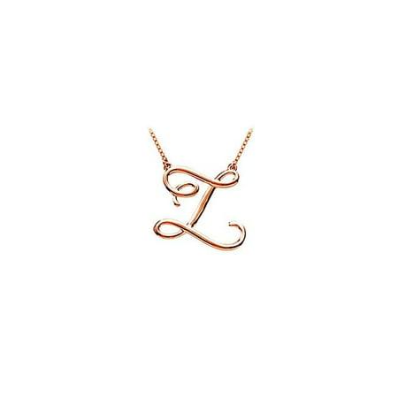 14K Rose Gold Vermeil Z Script Letter Initial Pendant - image 1 de 1