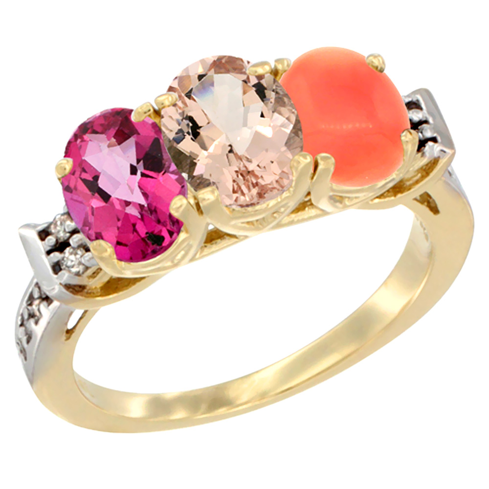 10K Yellow Gold Natural Pink Topaz, Morganite & Coral Ring 3-Stone Oval 7x5 mm Diamond Accent, sizes 5 10 by WorldJewels