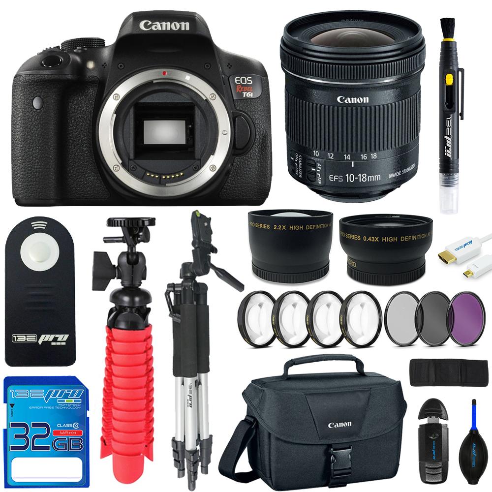 Canon EOS Rebel T6 DSLR Digital Camera +Canon EF-S 10-18mm f/4.5-5.6 IS STM Lens + Pixi Advanced - Accessory Bundle Kit