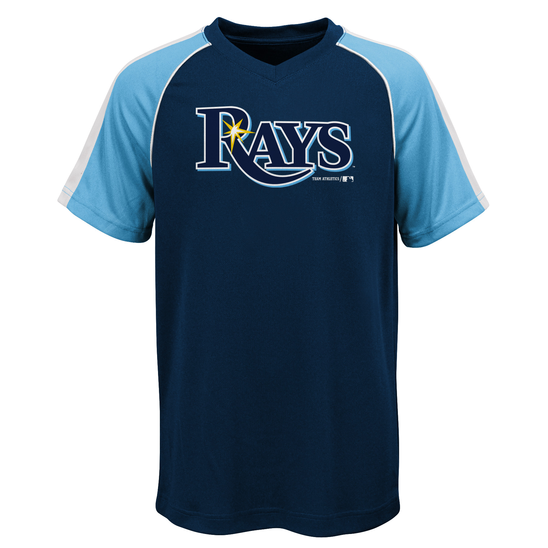 MLB Tampa Bay RAYS TEE Short Sleeve Boys Fashion Jersey Tee 100% Polyester Pin Dot Mesh Jersey Team Tee 4-18