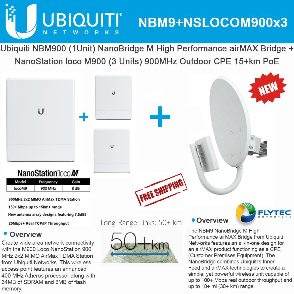 Ubiquiti NanoBridge NBM900 900MHz Antenna + LocoM9 (x3) NanoStation 900MHz  10+km