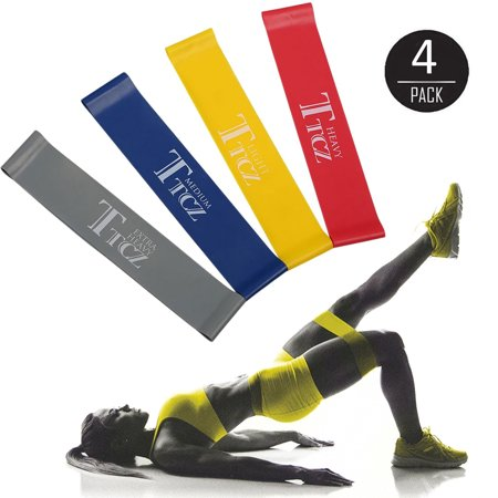 EEEKit 4 Pcs Exercise Resistance Loop Bands, Workout Yoga Bands, for Stretching Training, Physical Therapy and Home Fitness ()