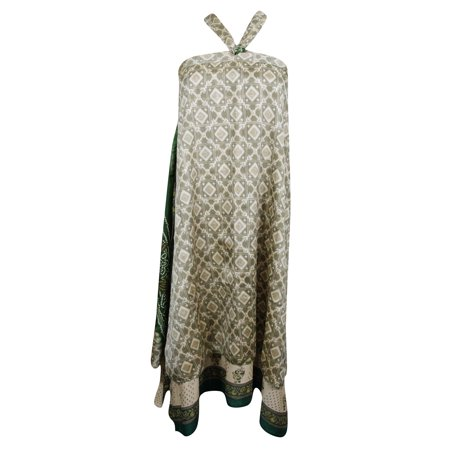 Mogul Womens Beach Cover Up Wrap Skirt Beige Printed 2 Layer Reversible Holiday Dress