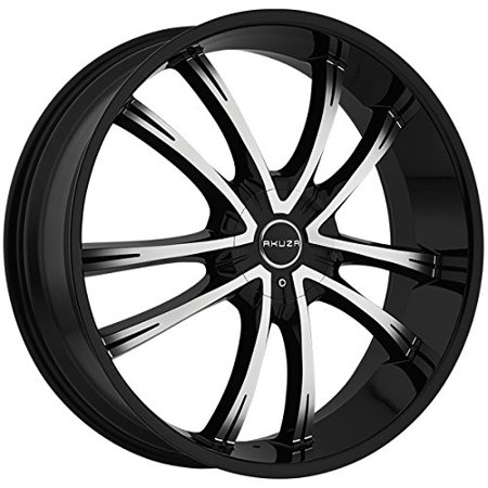 Akuza 847 Shadow 24x8.5 5x115/5x120 +15mm Black/Machined Wheel (Akuza Chrome Wheels)
