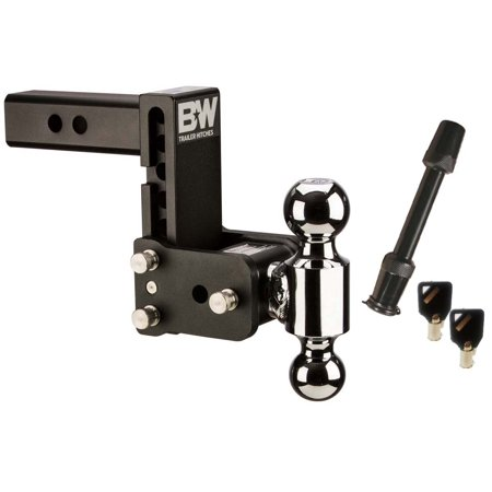 B&W Trailer Hitches TS10037B Tow & Stow Model 8 5-5.5 Inch Adjustable Dual Ball Mount Hitch and 5/8 Inch Black Receiver Hitch Lock 8 Model Receiver Hitch