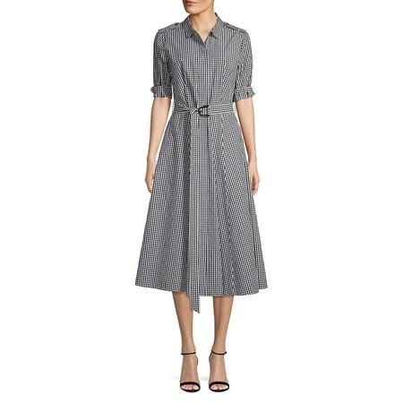 Short-Sleeve Gingham Belted Dress Calvin Klein Belted Cotton Dress