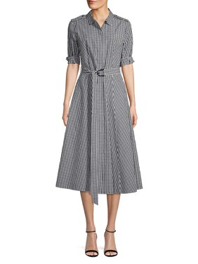 27807123 Product Image Short-Sleeve Gingham Belted Dress