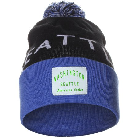 343cc118e0b American Cities Unisex USA Fashion Arch Cities Pom Pom Knit Hat Cap Beanie  - Walmart.com