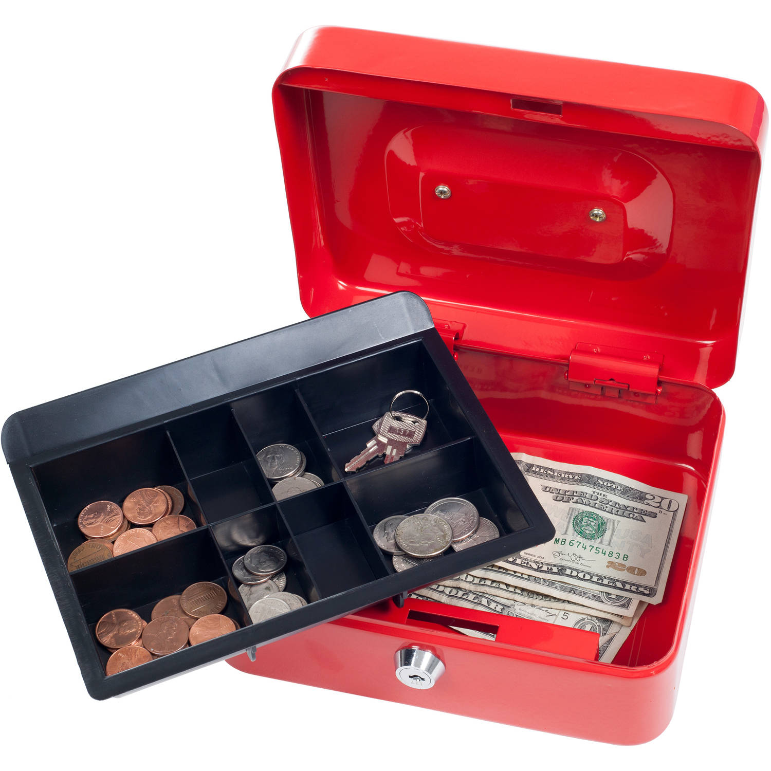 "Stalwart 8"" Key Lock Cash Box with Coin Tray, Red"