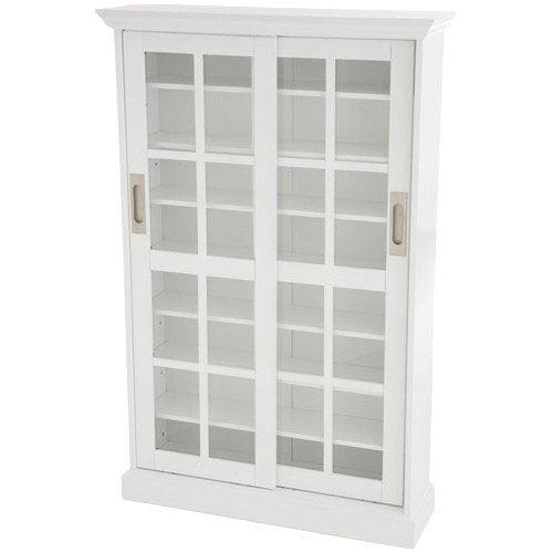 Southern Enterprises Sliding Door Media Cabinet Bookcase - White