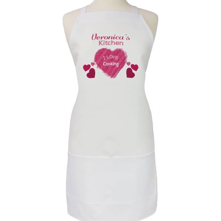 Personalized I Love Cooking Hearts Apron