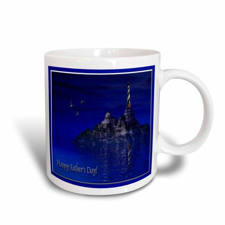 Ocean Blue Cup (3dRose Blue Ocean Lighthouse, Happy Fathers Day, 3d, Ceramic Mug, 11-ounce )