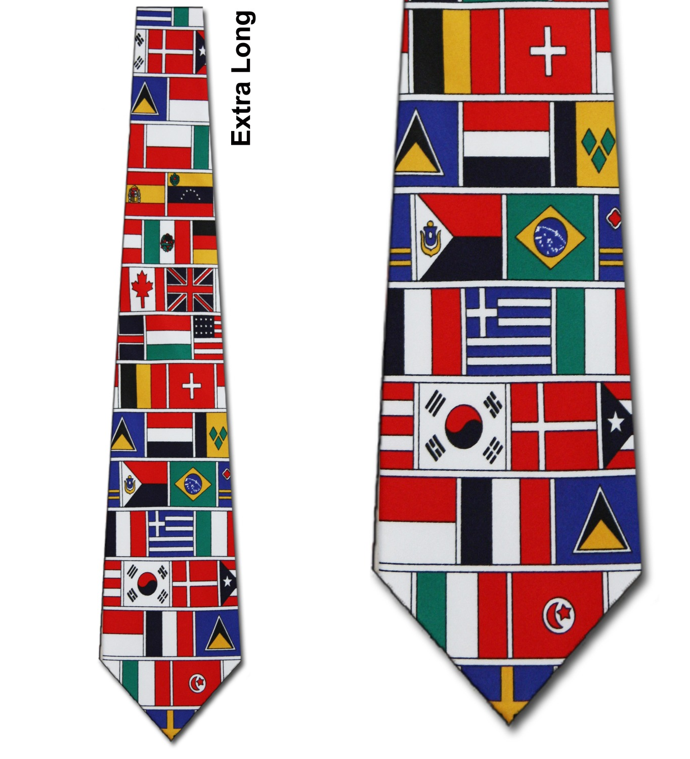 World Flags Pattern Extra Long Necktie Mens Tie by