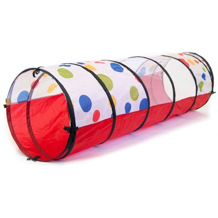 Jumbo Polka Dot Toddler Baby Development Crawl Play Tunnel with Safety Meshing and Tote Bag