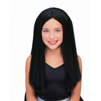 CHILD LONG BLACK WIG](Black Long Hair Wigs Halloween)