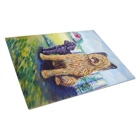 - Briard Training Day for the puppy Glass Cutting Board Large