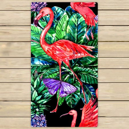 YKCG Pink Flamingo Bird Palm Leaves Tropical Fruits Pineapples Hand Towel Beach Towels Bath Shower Towel Bath Wrap For Home Outdoor Travel Use 30x56 inches