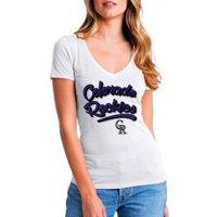 MLB Colorado Rockies Women's Short Sleeve White Graphic Tee