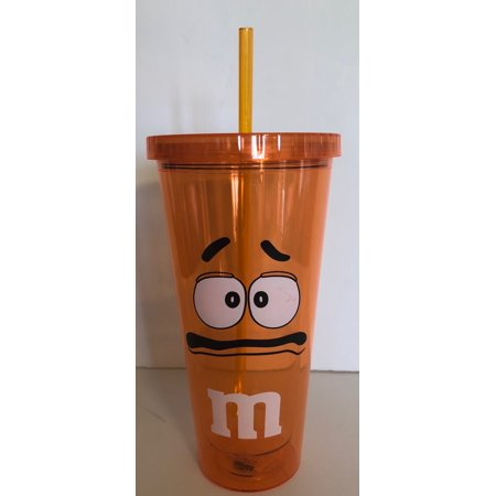 Facet Tumbler (M&M's World Orange Character Big Face Tumbler with Straw New)