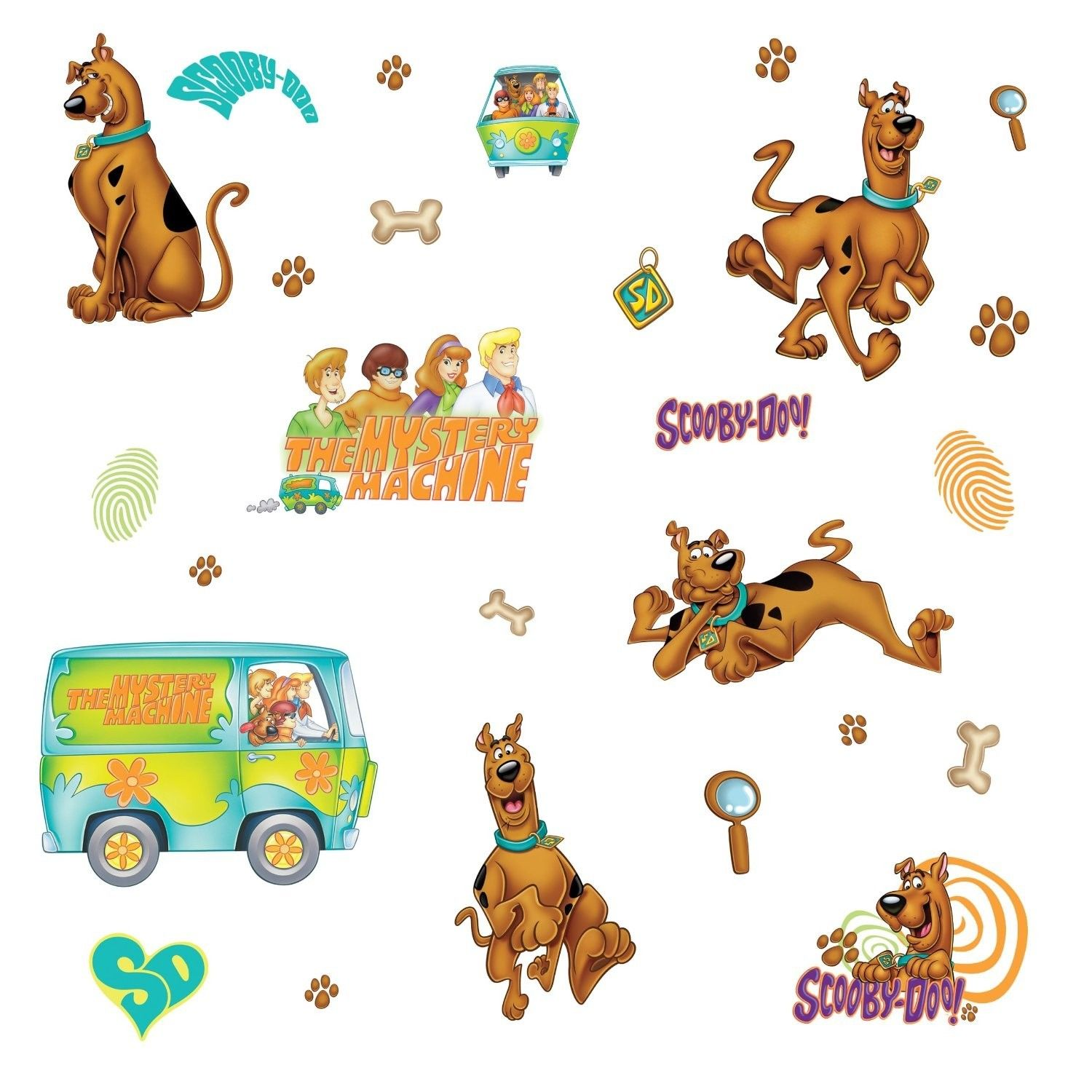 SCOOBY DOO 26 BiG Wall Stickers Room Decor Mystery Machine Decals Decorations