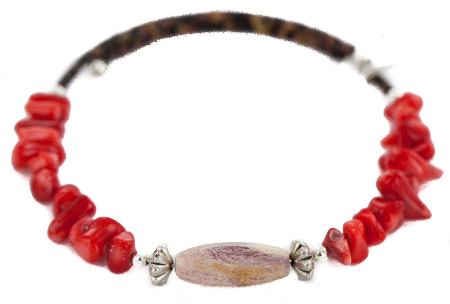 80 Retail Tag Navajo Made by Delores Little Authentic Jasper Heishi Coral Native American Wrap Bracelet by