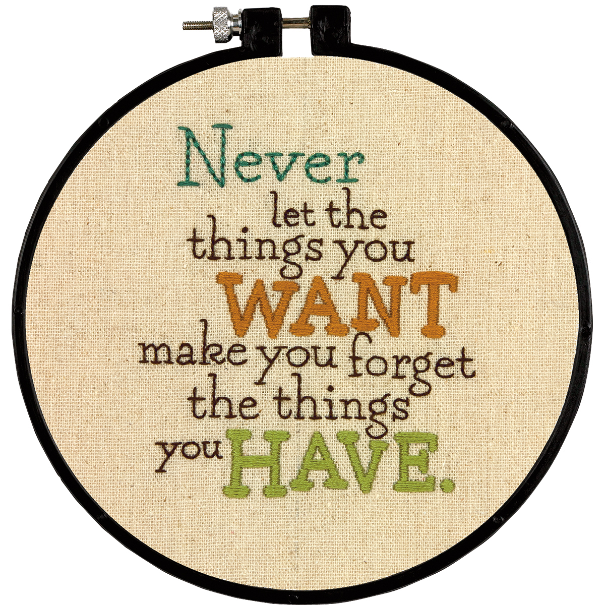 Dimensions Stitch Wits Never Want Stamped Embroidery Kit, 6-Inch Multi-Colored