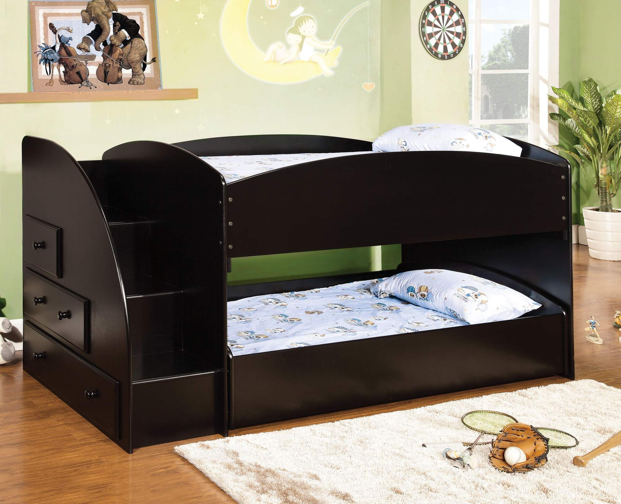 Furniture of America Trula Twin Bunk Bed with Staircase, Multiple Colors by Furniture of America