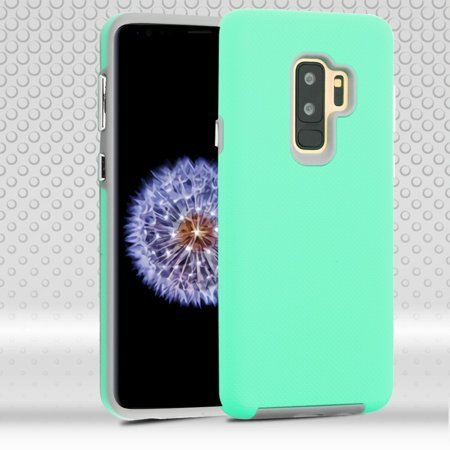 Insten Dots Textured Fusion Dual Layer Hybrid PC/TPU Rubber Case Phone Cover For Samsung Galaxy S9 Plus S9+ - Teal/Gray