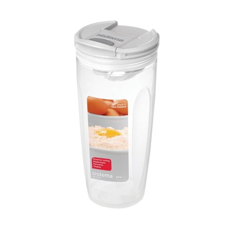 Sistema Bake It Food Storage for Baking Ingredients, Mixer for Liquids, 23.2 Ounce/ 2.9 Cup Ingredients Store Collection