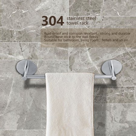 Eecoo Bathroom Towel Rack 304 Stainless Steel Self Adhesive Home Hotels Commercial Holder With Round Foundation Bar