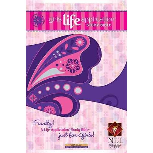 Girls Life Application Study Bible: New Living Translation, Glittery Grape Butterfly, Leatherlike