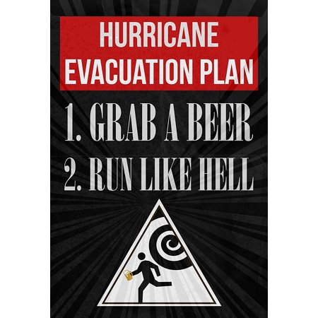 Hurricane Evacuation Plan 1 Grab A Beer 2 Run Like Hell Print Running Man With Beer From Hurricane Warning Sign Picture Drinking Fun Funny Humor Bar Wall Decoration
