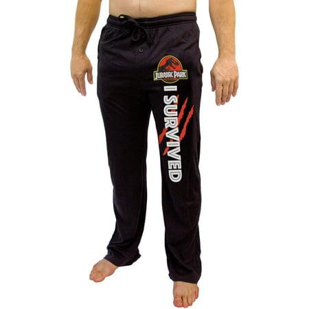Jurassic Park Movie T-Rex Logo I Survived Men's Adult Pajama Lounge Pants](Park Ultra Lounge Halloween)