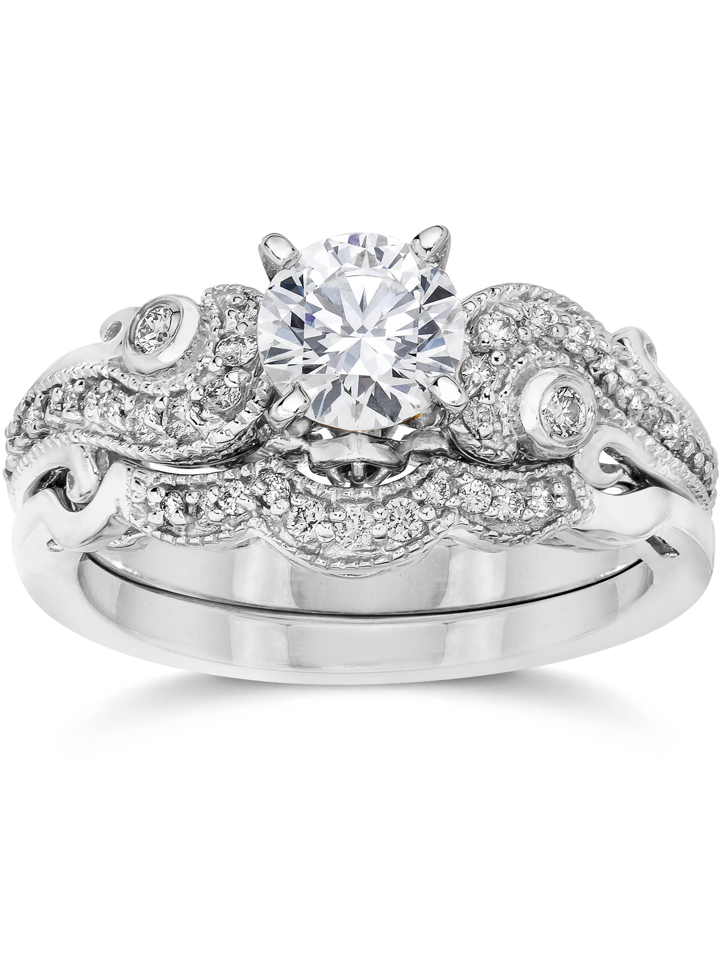 3/4ct Diamond Engagement Wedding Ring Matching Set 14K White Gold (J-K,I2-I3)