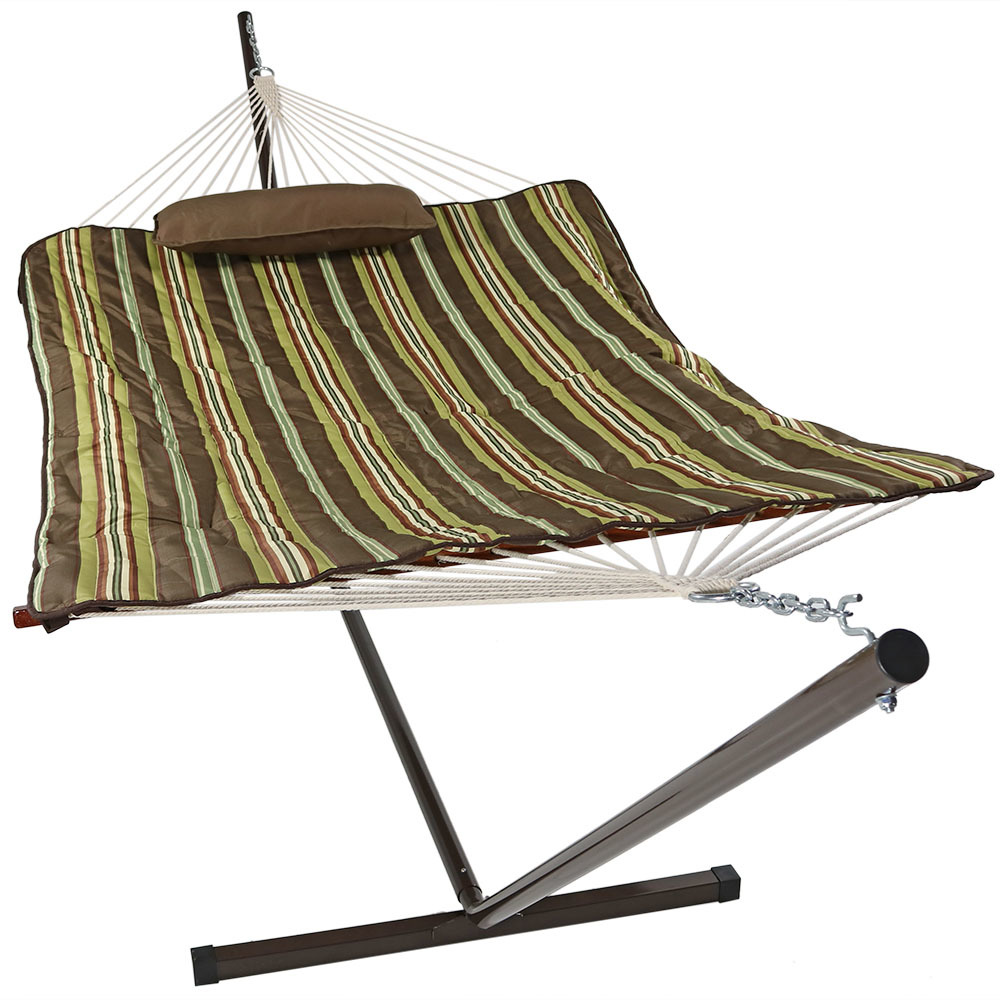 Sunnydaze Cotton Rope Freestanding Hammock with 12 Foot Portable Steel Stand and Spreader Bar, Indoor or Outdoor Use, Pad and Pillow Included, Desert Stripe