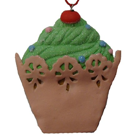 Green Koi (Sweet Memories Green Cupcake with Cherry on Top Christmas Ornament )