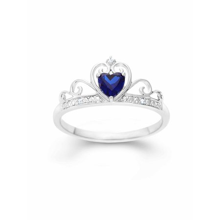 Created Blue Sapphire Heart and White CZ Sterling Silver Crown Ring