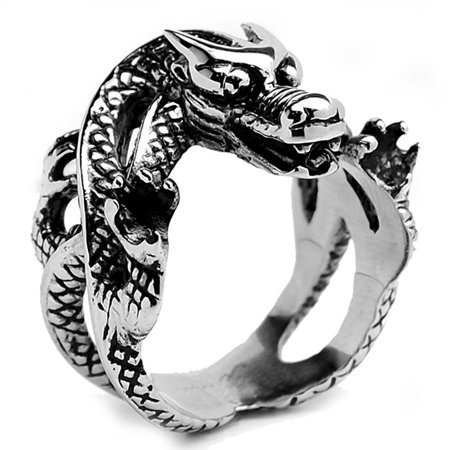 Stainless Steel Men's Casted Biker Dragon Ring Sizes 9 to 15 (Dragon Ring)