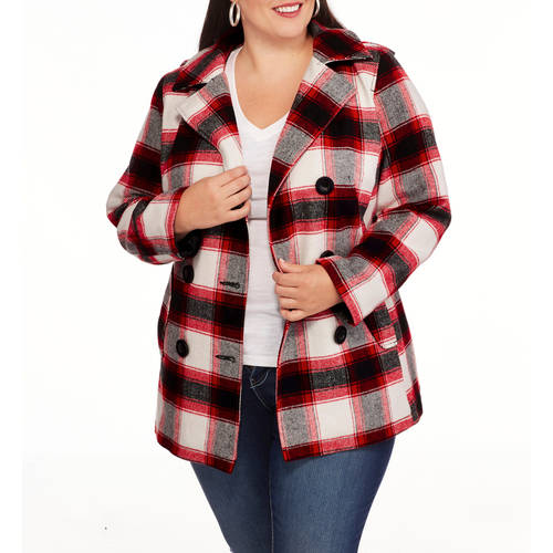 Faded Glory Women's Plus-Size Double-Breasted Faux Wool Peacoat with Hood