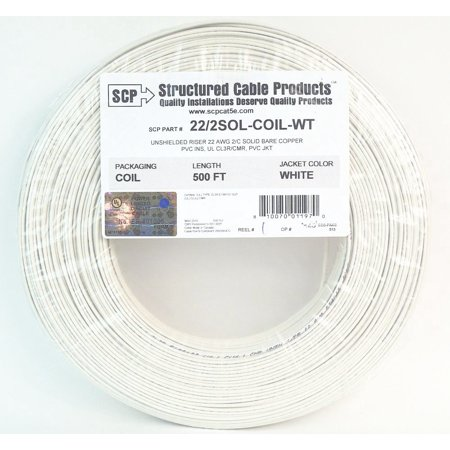 22 Gauge 2 Conductor 500 Feet Solid Copper White Security Alarm Wire UL (Best Wire For Coil Building)