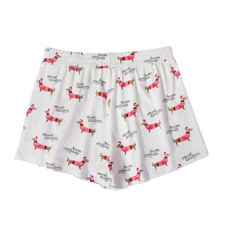 fashion culture dachshund christmas pajama lounge shorts white small