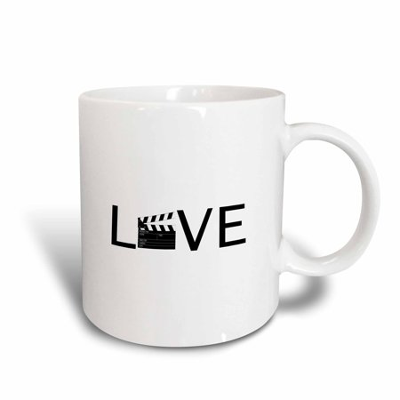 3dRose Love with movie clapper for O - filming buff film making - black text, Ceramic Mug, 11-ounce